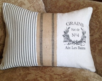 Grainsack, burlap and ticking pillow cover with  french stencil