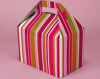 Red Gold Stripe Gable Box - Party Box - Baby Shower - Little Girls Tea Party - Treat Box - Disposable Lunch Box - Food Box - Picnic Box -