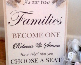 Personalised Vintage Look Wedding sign Please choose a seat not a side - ANY colour butterflies