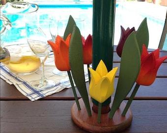 Wooden Tulip Patio Table/Umbrella Centrepiece, handcrafted flowers, patio decor