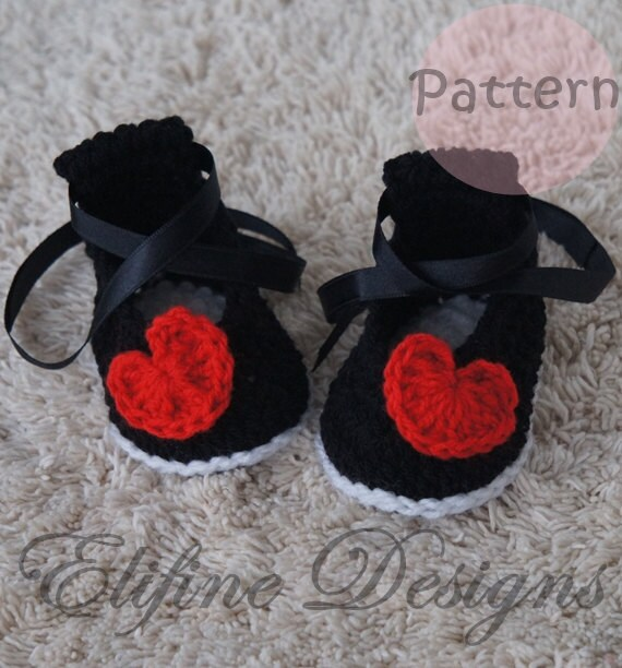 CROCHET PATTERNcrochet baby booties with heartperfect for