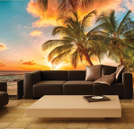 Stunning paradise beach sunset mural by fromeuwithlove on etsy for Beach sunset mural