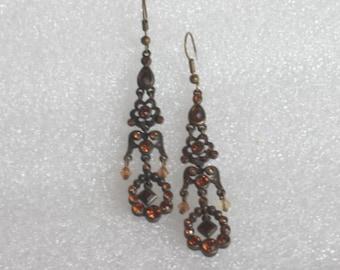 "Multi color rhinestone  pierce dangle   earrings 3""L"