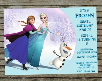 Frozen Birthday Skate Party Invitation