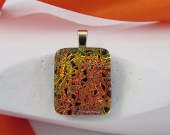 Orange and Yellow Pendant-Square Dichroic Glass Pendant