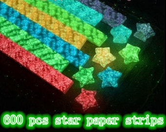 7 colors total 600 pcs Luminous Origami Star Paper Kit 6 pattern can be chosen Lucky Wishing Star paper strips DIY Valentine gift-600 strips