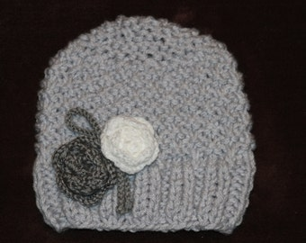 Knitted hat. Girls grey hat. Flower hat. Crochet hat. Girls knit hat.  Age 2-3 years