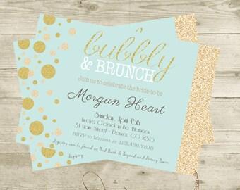 Gold, Sprakly, Champagne Brunch Bridal Shower Bubbly and Brunch Digital Download