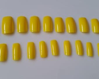 20 Yellow Press on Nails - Glue on Nails - Medium Long Artificial Nails - fake nails - yellow nails - long nails