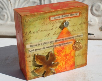 "Home Sweet Home - Inspirational Collage on 4""x4"" wood plaque"