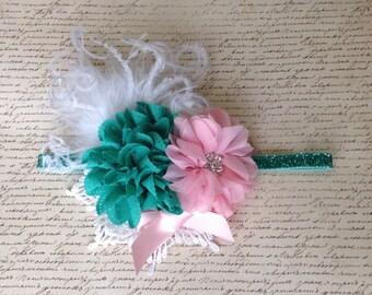 Jade Green and Pink Girls Headband