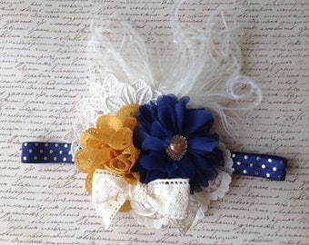 Girls Headband in Navy, Mustard and Ivory with feathers and lace