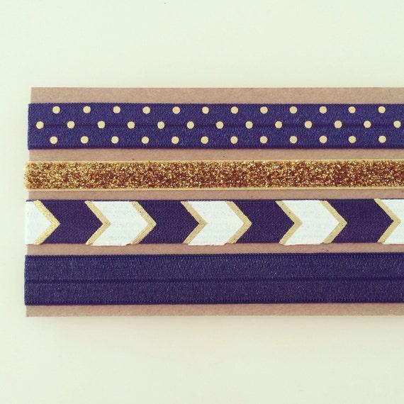 Navy Blue + Gold Chevron Headband Set   Navy, Gold + White Elastic Headbands for Baby, Toddler, Kids + Adults, Navy Blue Boho Headbands