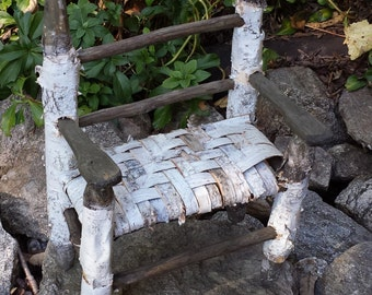 Vintage Birch Tree Bark & Wood Doll Chair