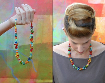 Colorful Lampwork Necklace, Funky Glass Necklace, Spring Necklace, Hot Colors, Stunning Necklace, beaded Necklace, Funky Jewelry