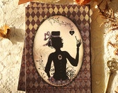 Postcard - illustrated postacrd - woman silhouette - hat - victorian illustration - The Key to my Heart