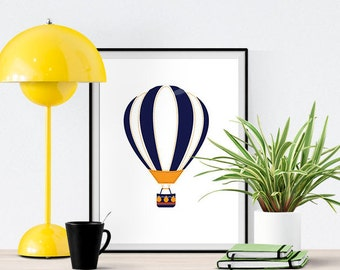 Hot Air Ballon Picture Art Print Poster - for Wall Decor, Nursery, Baby, and Kids Room with Science Theme