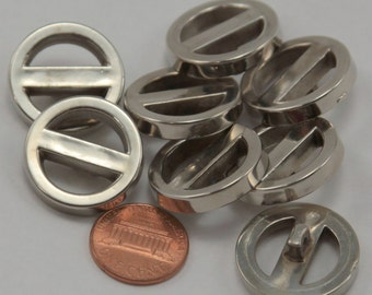 """Lot of 8 Shiny Thick Pierced Silver Tone Plastic Buttons 7/8"""" 23mm # 6502"""