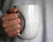 Antique White Mug-glove Handwarmer Mug - 12 oz-  handmade wheelthrown pottery