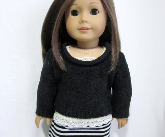 Black chenille pullover sweater for 18 inch doll such as American Girl