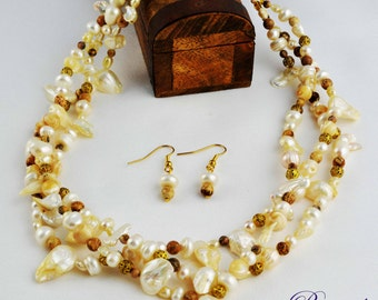 Cream Necklace-Jewellery-Gemstone-Semiprecious-Necklace and Earrings-Bridal-Handmade-Beauje-Designer-Jewelry-Mother of the Bride