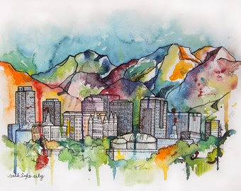 Salt Lake Cityscape- Giclee print on watercolor paper