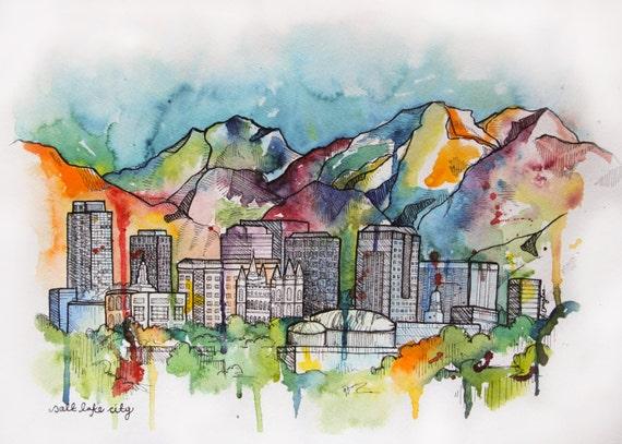 Salt Lake Cityscape- Giclee print