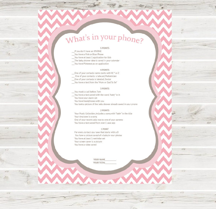 what 39 s in your phone baby shower game print at home pink
