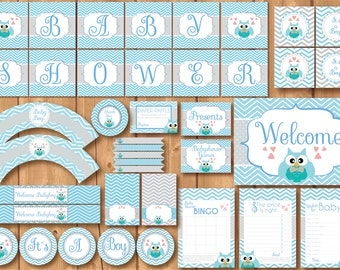 ON SALE! Babyshower Owl Party Package. Instant download. Printable. Boy owl Babyshower. Light blue and gray chevron babyshower.