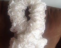 Hand knitted fashionable Sashay yarn white scarf with glitters