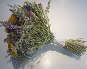 Bespoke Dried Flower Wedding Bouquet. Rustic Country Charm