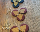 Navy Blue And Burgundy Circle Earrings | Circle Wood Earrings | Geometric Jewelry | Triangle Earrings | Hand Painted Wood Earring | Wooden