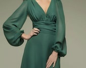 Green Maxi Dress.Formal Chiffon Dress.Occasion Dress Summer