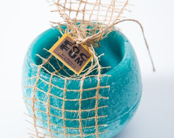 """Scented wax candle holder with Mediterranean fragrance and tea light. 4,72"""" diameter, petrol blue"""