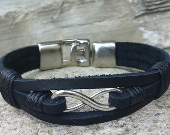 FREE SHIPPING-Mens Bracelet,Leather Bracelet,Men Infinity Bracelet,Men Cuff Bracelet,Bracelets for Men,Bracelets,Stainless Steel Components