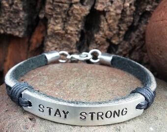 FREE SHIPPING-Men's Bracelet, Men's Leather Bracelet, Men's Engraved Bracelet, Black Leather Bracelet, Engraved Bracelet For Men