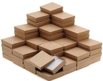 """New Kraft Cotton Filled Jewelry Display Packaging Gift Boxes 3 1/2"""" x 3 1/2"""" x 1""""  - 5 10 25 50 100 200 500 Pcs"""