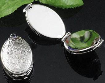 3PCS Silver Oval 4 Photo Locket, Photo Locket Pendant  (#5010016)