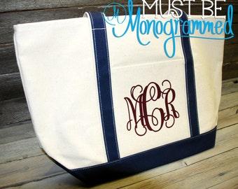 Monogram Canvas Boat Tote Bag - Large   Personalized Canvas Boat Tote Bag   Beach Tote Bag   Pool Tote Bag   Bridesmaid Gift   Teacher Tote