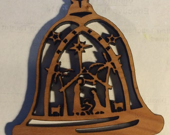 Cherry Wood Bell Nativity Christmas Ornament