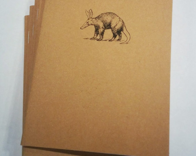 Aardvark Notebook - diary, journal, party favors, multipack, woodland animals, ant eater, custom printing included