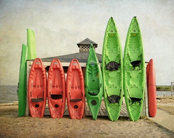 Beach Photography, Kayaks, Colorful, Beach House Decor, Outer Banks, Fine Art Photography, Wall Art, Coastal Art, Ocean, lime green, red
