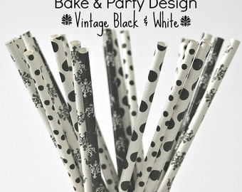 24 Piece Paper Straws Vintage Polka Dot Party Supplies 4 Styles Black White Damask Polka Dots  Birthday Party Wedding Bridal Baby Shower
