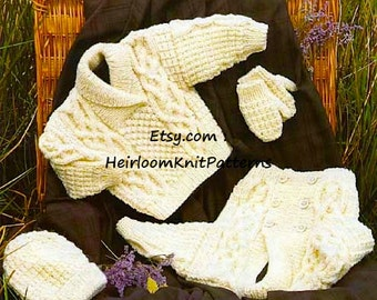 Baby Child Aran Jacket Sweater Hat Mittens Knitting Pattern Aran Worsted 10ply 16-30'' Baby Toddler Child Boy Girl Instant download PDF- 259