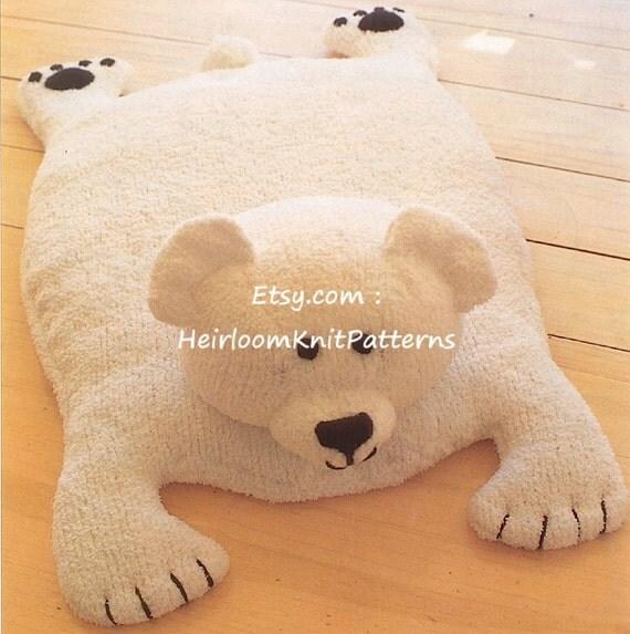 Polar Bear Baby Rug Knitting Pattern DK 8ply Baby Boy Girl