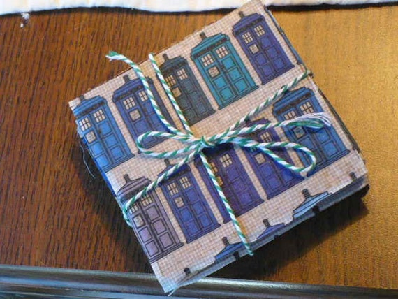 Dr. Who Gifts Tardis Gifts Drink Coaster Set Blue Tardis Fabric Cork Coasters Dr Who Fabric