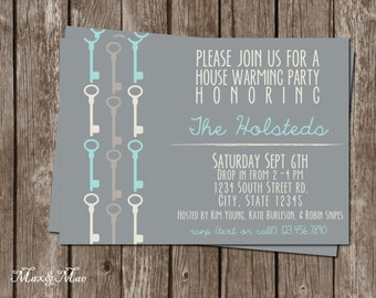 House Warming Party, House Warming Invitation, New Home Invitation, Key Invitation, Digital, Printable
