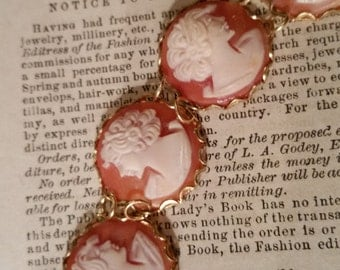 Victorian Style Cameo Bracelet Real Carved Shell Carnelian Cameo