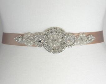 Champagne Bridal Sash, Bridal Belt, Wedding Belt, Flower Girl Dress Sash, Wedding Sash, Pearl and Crystal Rhinestone Bridesmaid Belt, BRIA