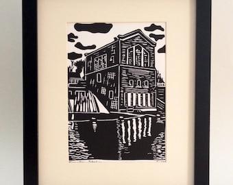 "River Dam Station handmade linocut print 5x7"", unframed (white) - home decor, wall art, made in Michigan, printmaking, handmade"